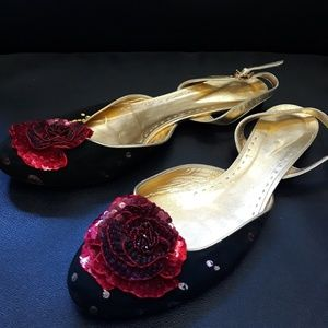 Beautiful flat suede with red rose sequins flowers
